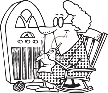 Royalty Free Clipart Image of a Woman Sitting Beside an Antique Radio