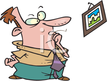 Royalty Free Clipart Image of a Man Looking at a Crooked Picture