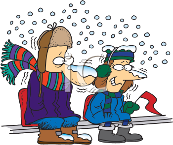 Royalty Free Clipart Image of Two People Shivering on Bleachers