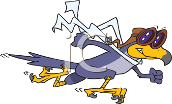 Royalty Free Clipart Image of a Falcon Dressed Like a Pilot