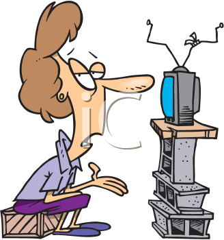 Royalty Free Clipart Image of a Woman Watching Television in a Room With No Furniture
