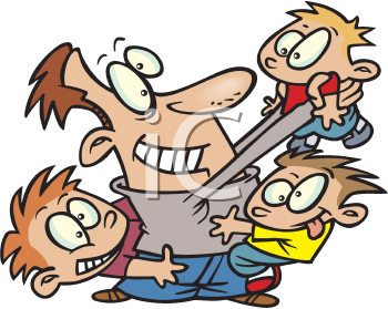 Royalty Free Clipart Image of a Father and His Sons