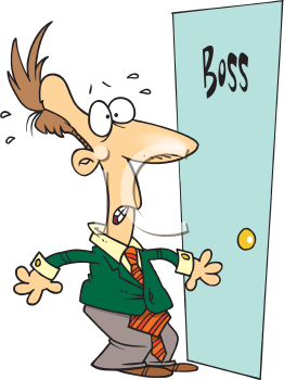 Royalty Free Clipart Image of a Man Outside the Boss's Door