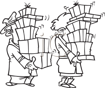 Royalty Free Clipart Image of a Couple With Boxes