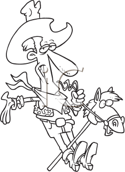 Royalty Free Clipart Image of a Cowboy on a Stick Horse