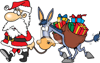 Royalty Free Clipart Image of Santa With a Donkey