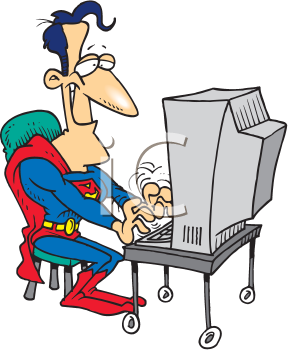 Royalty Free Clipart Image of Superman at the Computer