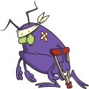 Royalty Free Clipart Image of an Injured Bug