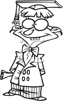 Royalty Free Clipart Image of a Nerdy Graduate