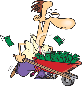 Royalty Free Clipart Image of a Man With a Wheelbarrow Full of Money