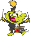 Royalty Free Clipart Image of a Creature Playing Drums