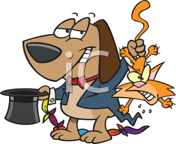 Royalty Free Clipart Image of a Dog Wearing a Magician Costume Pulling a Cat Out of a Top Hat