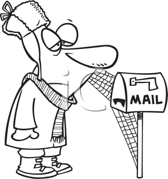 Royalty Free Clipart Image of a Man Waiting By a Mailbox