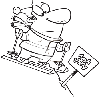 Royalty Free Clipart Image of a Man at the Top of a Challenging Ski Run