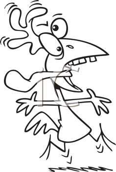 Royalty Free Clipart Image of a Crazy Chicken