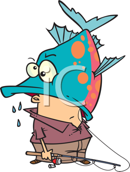 Royalty Free Clipart Image of a Fish With a Man's Head in His Mouth