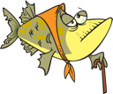 Royalty Free Clipart Image of a Fish With a Scarf and Cane