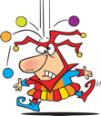 Royalty Free Clipart Image of Balls Dropping on a Joker
