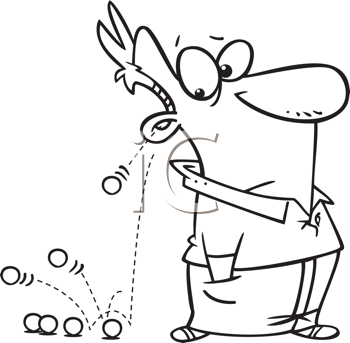 Royalty Free Clipart Image of a Man With Marbles Falling Out of His Ear