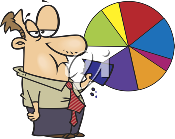 Royalty Free Clipart Image of a Man Eating a Pie Chart