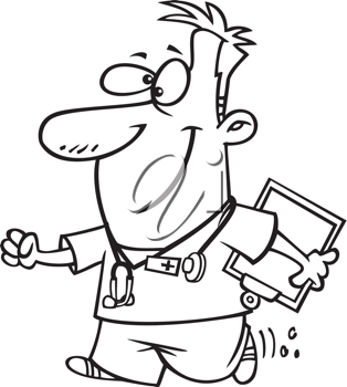 Royalty Free Clipart Image of a Male Nurse