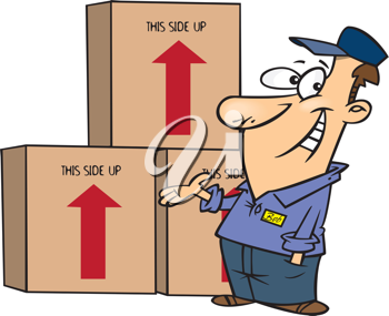 Royalty Free Clipart Image of a Mover Man