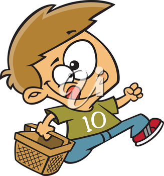 Royalty Free Clipart Image of a Little Boy With a Basket