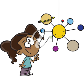 Royalty Free Clipart Image of a Girl Looking at a Solar System Mobile