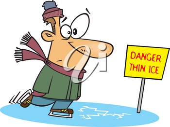 Royalty Free Clipart Image of a Man Skating on Thin Ice