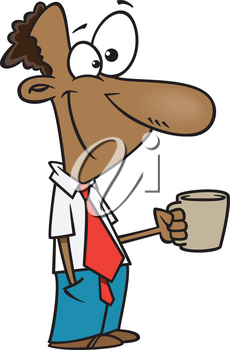 Royalty Free Clipart Image of a Man Having a Break