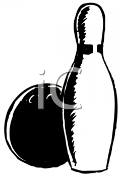 Royalty Free Clipart Image of a Bowling Ball and Pin