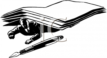 Royalty Free Clipart Image of a Man Buried Under Paperwork