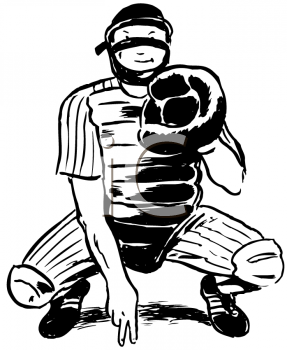 Royalty Free Clipart Image of a Baseball Catcher