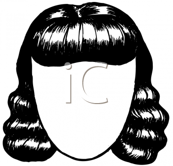 Royalty Free Clipart Image of a Woman's Blank Face and Wavy Hair