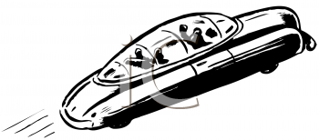 Royalty Free Clipart Image of a Futuristic Car