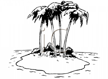 Royalty Free Clipart Image of a Desert Island With Palm Trees