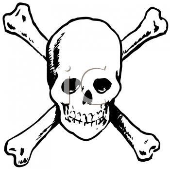 Royalty Free Clipart Image of a Skull and Crossbones