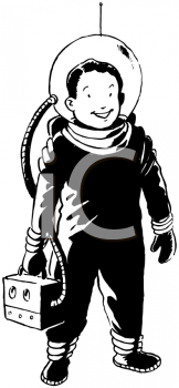 Royalty Free Clipart Image of a Spaceboy