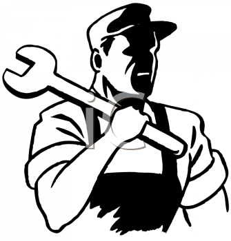 Royalty Free Clipart Image of a Worker With a Big Wrench Over His Shoulder