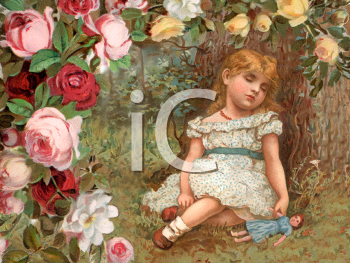 Royalty Free Victorian Illustration of a Little Girl Sleeping Against a Tree in a Rose Garden.