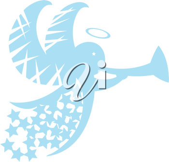 Royalty Free Clipart Image of an Angel With a Trumpet