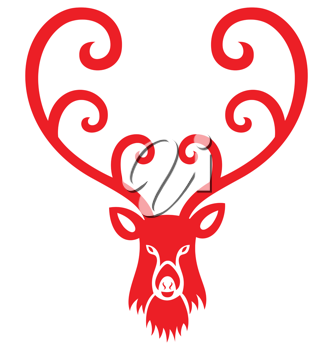 Royalty Free Clipart Image of a Reindeer Head