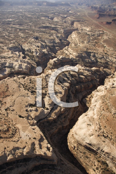 Royalty Free Photo of an Aerial of a Desert Canyon in Canyonlands National Park in Utah, USA