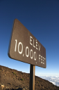 Royalty Free Photo of an Elevation Sign in Haleakala National Park in Maui, Hawaii