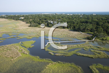 Royalty Free Photo of an Aerial View of a Coastal Residential Community on Bald Head Island, North Carolina