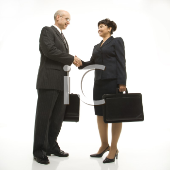 Royalty Free Photo of a Businessman and Businesswoman Standing and Shaking Hands