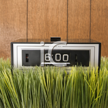 Royalty Free Photo of a Retro Alarm Clock Placed in Grass