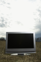 Royalty Free Photo of  Flat Panel Television Set in a Grassy Field