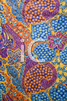 Royalty Free Photo of a Close-up of a Colorful Vintage Fabric