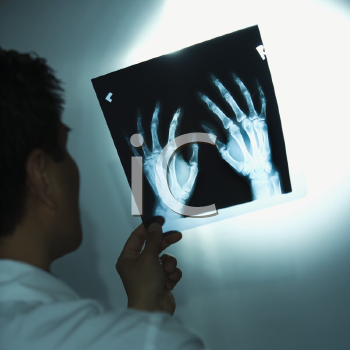 Royalty Free Photo of a Doctor Examining X-Rays